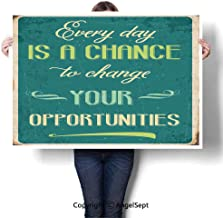 Art Frameless Paintings,Every Day is a Chance to Change Your Opportunities Quote Retro Poster Print Jade Green Tan,W28 XL20,On Canvas Abstract
