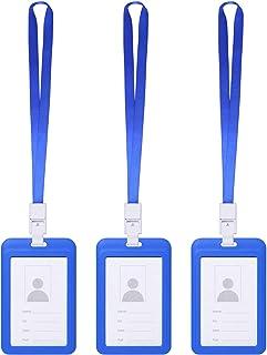 Vicloon Porte-Badges avec Lanière Bleu,3Pcs Porte-Carte D'identité Badge pour l'entreprise, Travail, Expositions, Conféren...