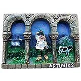 Asturias España Europa Ciudad Mundial resina 3d fuerte imán nevera recuerdo turista regalo chino hecho a mano creativo hogar y cocina decoración magnética etiqueta