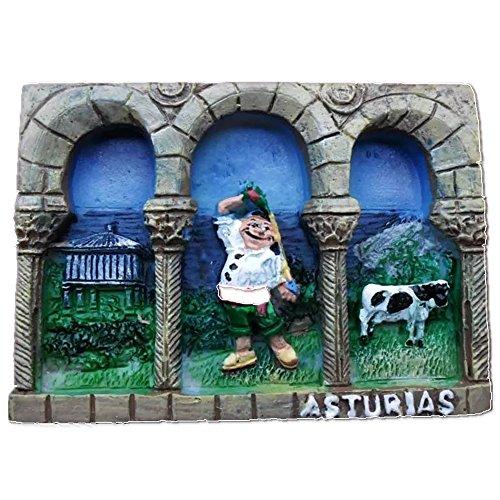 Asturias España Europa Ciudad Mundial Resina 3D Fuerte Imán de nevera recuerdo turístico Regalo chino Imán hecho a mano Artesanía Creativa Casa y Cocina Decoración Magnética Pegatina