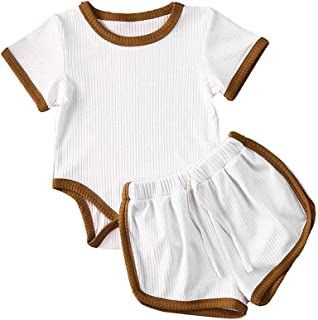 iddolaka Newborn Infant Baby Girl Boy Clothes Short Sleeve Tops T-Shirt+Shorts Pants Solid Color Two Piece Outfits Set