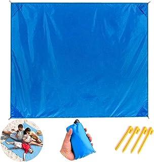 BESTZY Alfombras de Playa Bolsillo Manta Picnic con 4 Estaca Fijo Tienda de Campaña Impermeable Prevención de Arena 140 X 150CM(Azul)