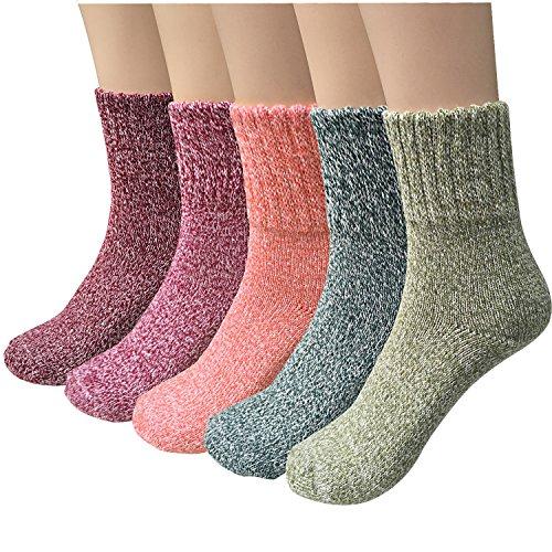 YSense 5 Pares Calcetines Termicos Grueso Vintage Antideslizante de Lana para Hombres y Mujeres