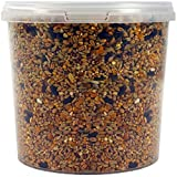 SQUAWK All Seasons Wild Bird Food Mix | Husk Free Natural Garden Seed | Contains Black Sunflower, Wheat and Small Seeds | Enhanced Feed Mixture | Protein Rich Balanced Vitamin Recipe (2.5L Tub)
