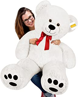 cucunu Big Teddy Bear Stuffed XL Plush Animal Large 3.3 ft for Kids and Adults with Big Pawprints and Eyes 40 Inch – White