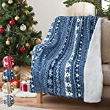 Christmas Throw Sherpa Blanket 50' x 60' Snowflake Pattern, Super Soft Fluffy Sherpa Throw TV Blanket Decorative Blanket for Bed Couch Holidays Blue