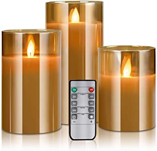 Yinuo Mirror LED Flameless Candles, Battery Operated Flickering Candles Pillar Real Wax Moving Flame Electric Candle Sets Gold Glass Effect with Remote Timer, 4