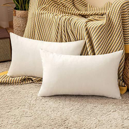 MIULEE 2er Set Outdoor Wasserdicht Kissenbezug aus Baumwolle Leinen-Optik Dekorative Sofakissen Dekokissen Moderne Kissenhülle für Garten Sofa Wohnzimmer Schlafzimmer Bett 30x50 cm Weiß