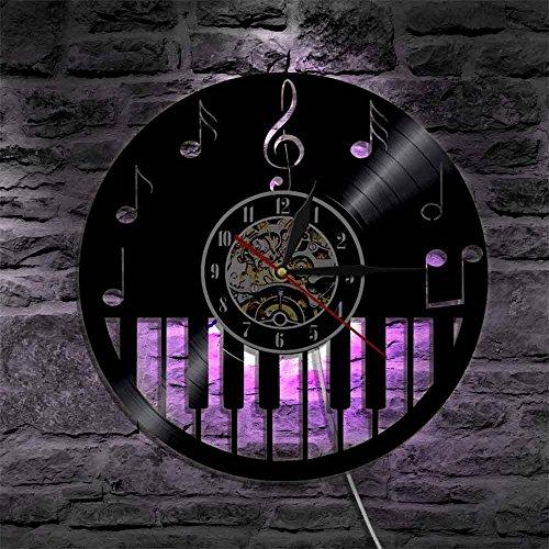 1 pezzo strumento musicale per pianoforte orologio da parete in vinile con retroilluminazione a LED note musicali spartiti lampada moderna che cambia colore
