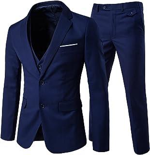 Men's Modern Fit 3-Piece Suit Blazer Jacket Tux Vest & Trousers, Navy, Large
