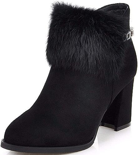 HBDLH Chaussures pour Femmes en Hiver l'eau De Forage De La Hauteur du Talon De 7 Cm Bottes épais De Talon à Canon Court Bottes De Nus 100 Ensembles
