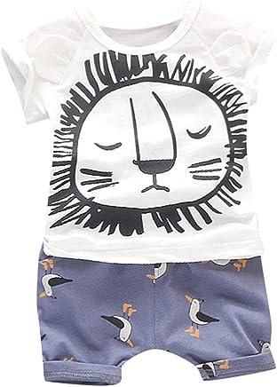 Luonita Kids Toddler Baby Boys Girls Cartoon Duck Print Sets Outfits Short Sleeve Tops T-Shirt Shorts Pants