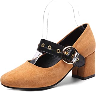 Veveca Women Buckle Strap Square Toe Chunky Block High Heel Retro Pumps Classic Mary Jane Oxfords Shoes