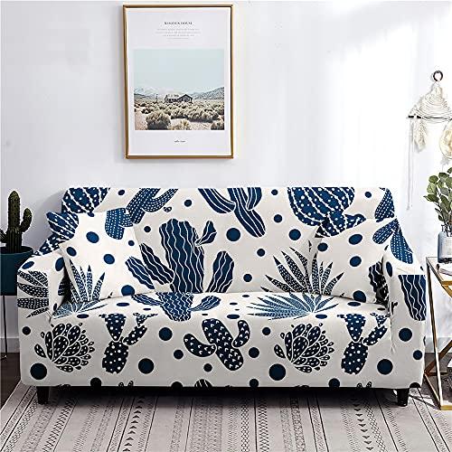 Hearda Funda para Sofá Elástica, Impresión de Cactus Universal Antideslizante Cubierta de Sofá Funda Cubre Protector para Sofás Decorativa (Azul,2 plazas - 145-185cm)