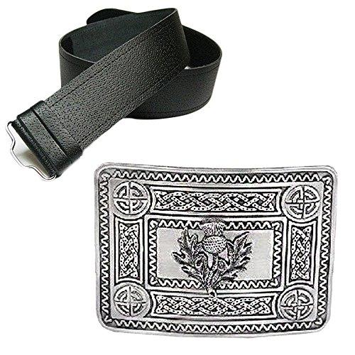 The Scotland Kilt Company Mens Leather Grained Kilt Belt & Antique Celtic Thistle Buckle
