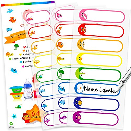 Baby Bottle Labels for Daycare  Self-Laminating  Waterproof Write-On Name Labels  Assorted Sizes & Colors  Pack of 64