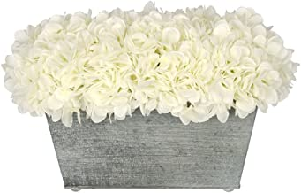 House of Silk Flowers Artificial Hydrangea in Galvanized Metal Rectangle (White)