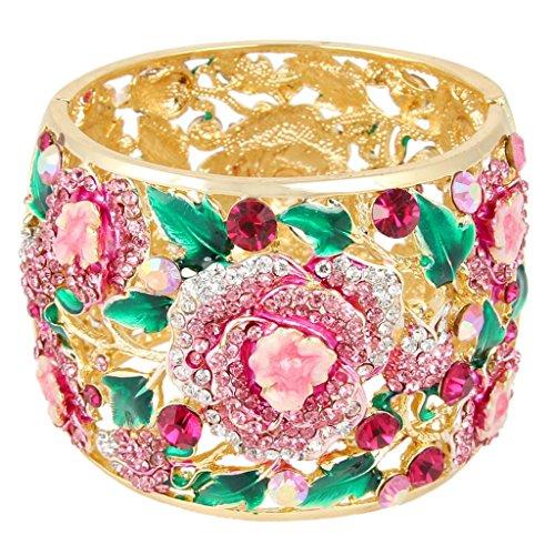 EVER FAITH Austrian Crystal Enamel Feast Rose Flower Leaf Bangle Bracelet Pink Gold-Tone