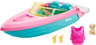 Barbie Boat with Puppy and Themed Accessories, Fits 3 Dolls, Floats in Water, Great Gift for 3 to 7 Year Olds