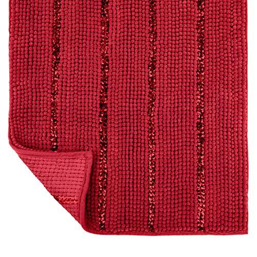 Tayis Tappeto Bagno Antiscivolo Tappetino da Bagno Morbidi Ciniglia Assorbenti Lavabile per Bagno, Cucina (Rosso, 50x80cm)