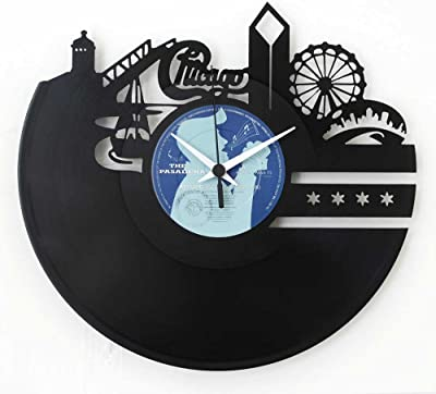 Chicago Clock Chicago skyline clock Wall clock Vinyl clock Black color Original Vinyluse Made in Italy