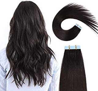 SUYYA Tape in Hair Extensions Off Black 100% Real Human Hair 12 inches 20pcs 40g/pack Straight Seamless Skin Weft Tape Hair Extensions(12 inches 1B#)