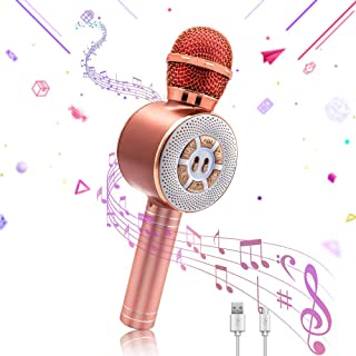 Wireless Karaoke Microphone, Handheld Bluetooth Microphone with Speaker RGB Light Portable Karaoke Player for Kid Adult Girl Home Party Singing Gift, Compatible iPhone Android