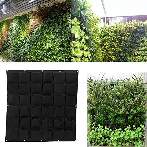 Bolsas para plantas colgantes de pared con 36 bolsillos, bolsa ecológica de jardinería maceta interior y exterior crecimiento vertical, negro