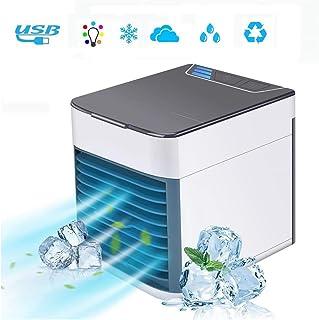 QDYL Aire Acondicionado Personal 3 en 1, Mini purificador de humidificador con Enfriador de Aire con 7 Luces LED de Colores cálidos, 3 velocidades Ajustables para el hogar o la Oficina