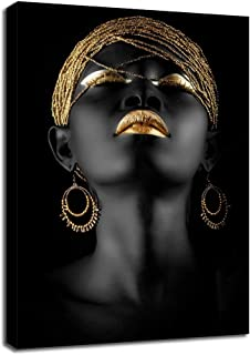 Fchen Art African Gold and Black Women Portrait Wall Decor Canvas Print Living Room Wall Decor Frame to Hang (A, 32x48inch)
