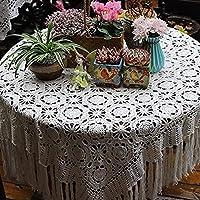 Inicio tapete de mesa de comedor Cuadrados simple hecho a mano francesa floral protector de la tabla con borlas for la boda del hotel Mesa rectangular Decoración, Tamaño: 200x230cm (79x91inch), Color: