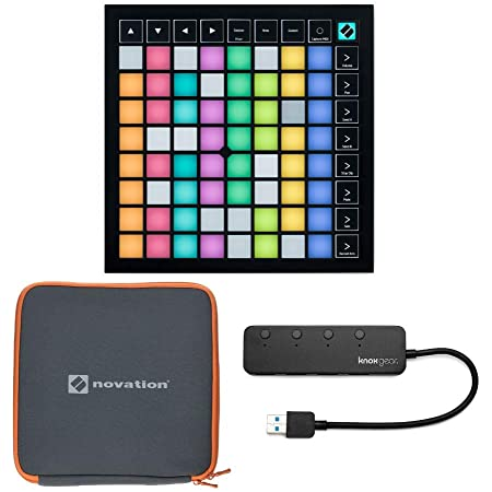 Novation Launchpad X Grid Controller Bundle with Launchpad Case and Knox Gear 3.0 4 Port USB Hub (3 Items)