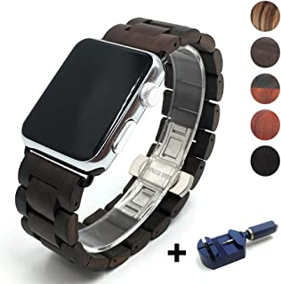 Seoaura Compatible Apple Watch Band 38mm 40mm, Natural Handmade Wooden Replacement iWatch Series 5 4 3 2 1 Sports Strap Wristband - Link Remover as a Gift (Dark Brown, 42mm/44mm)