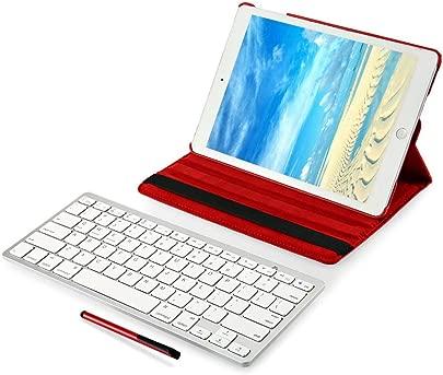 Renaisi Tastatur in Stylus Pen Abnehmbarer drahtloser Bluetooth-Tastatur-Abdeckungsbildschirm Geeignet f r alle Computer  Color Rose Madder