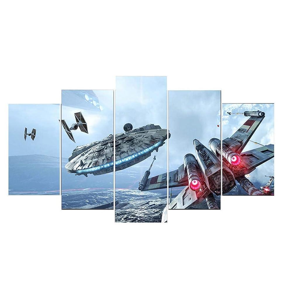 緊張利用可能明確にリビングルームのベッドルームフレームレス装飾Hdインクジェット絵画5パネルスターウォーズ宇宙船