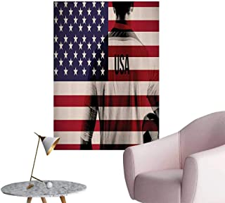 Vinyl Wall Stickers Composite Double Exposure of Soccer Player and American Flag Natial USA Perfectly Decorated,24