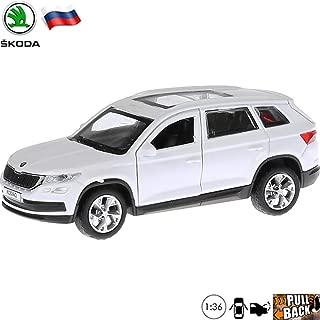 1:36 Scale Diecast Metal Model Car Skoda Kodiaq White Mid-Size SUV Russian Die-cast Toy Cars