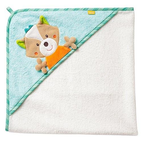 Fehn 071283 Kapuzenbadetuch Sleeping Forest – Bade-Poncho aus Baumwolle mit süßem Fuchs für Babys und Kleinkinder ab 0+ Monaten – Maße: 80 x 80 cm