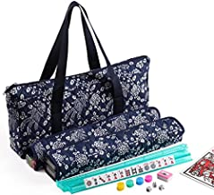 166 Tiles American Mahjong Set Blue Phoenix Soft Bag 4 Pushers/Racks Easy Carry Western Mahjongg