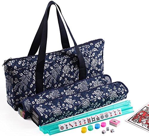 166 Tiles American Mahjong Set Blue Phoenix Soft Bag 4 Color Pushers/Racks...