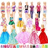 39 Doll Clothes and Accessories Include 3 Princess Dresses 1 Mermaid Dress 5 Fashion Dresses 10 Slip Dresses 2 Tops Pants 3 Bikini Swimsuits 15 Shoes,Suit for Barbie Dolls and Other 11.5 Inch Doll