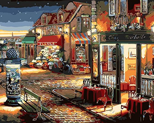 Preisvergleich Produktbild Fuumuui DIY Malen Nach Zahlen-Vorgedruckt Leinwand-Ölgemälde Geschenk für Erwachsene Kinder Kits Home Haus Dekor - Kaffee und Blumenladen 40*50 cm