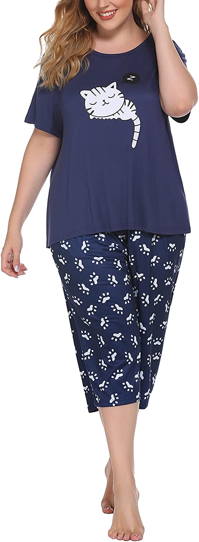 IN'VOLAND Women Pajama Set Plus Size Two Piece Pajamas Short Sleeve Capri Sleepwear Sets Cute Pjs Sets Print PJ set