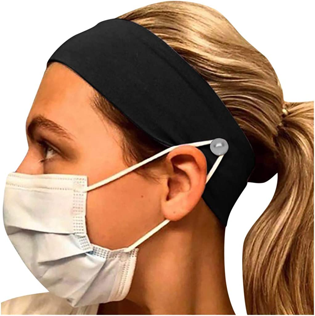 iHHAPY Headband with Buttons Sport Headwrap Protect Ears One Size Headbands for Women Men 4 Colors
