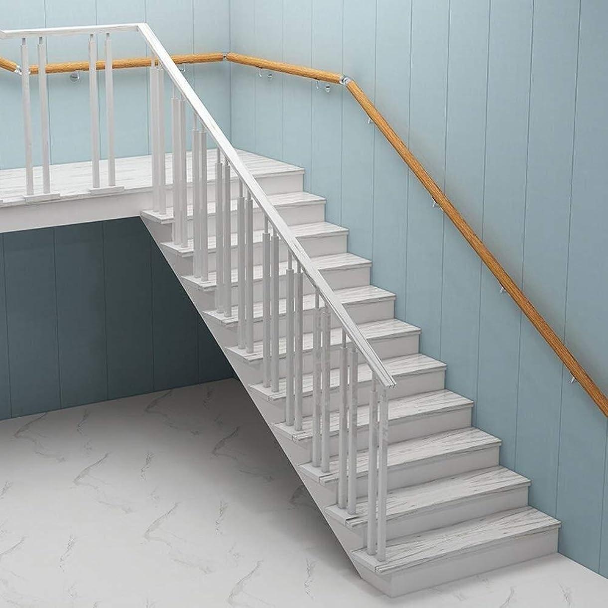 寛大な目的マトロン階段手すりステンレス鋼ブラケット付き木製階段手すりホームロフト廊下用手すり階段手すり手すりレール屋内屋外サポート滑り止め手すり(サイズ:220cm)