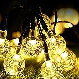 Guirnaldas Luces Exterior Solar ,WOWDSGN 60Led IP67 Resistente al agua 8 modos Cadena de Bola Cristal Luz para patio.Jardín, boda, fiesta, decoración del