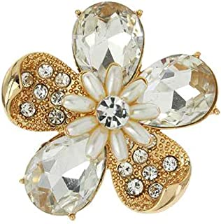 Rosemarie Collections Women's Stunning Crystal Pave Teardrop and Simulated Pearl Flower Stretch Statement Cocktail Ring