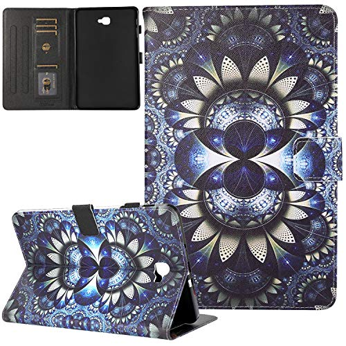 Galaxy Tab A 10.1 Case 2016 Old Model, T580 Case, JZCreater PU Leather Stand Wallet Case, Auto Sleep/Wake Smart Cover for Galaxy Tab A 10.1' Tablet SM-T580 T585 T587 (NO S Pen Version) ,3D Flower
