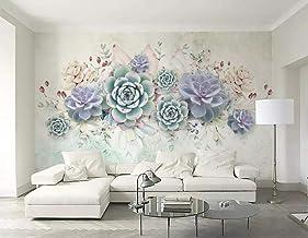 SKTYEE Papel pintado sedoso de moda personalizado suculentas frescas estilo acuarela 3d mural estéreo TV fondo papeles de pared decoración del hogar behang-B, 200x140 cm (78.7 by 55.1 in)