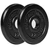 #DoYourFitness Weight Plates 100% Cast Iron Set 2x 1. 25 kg | Black | 30/31 mm Ø hole for Barbell or Dumbbell...
